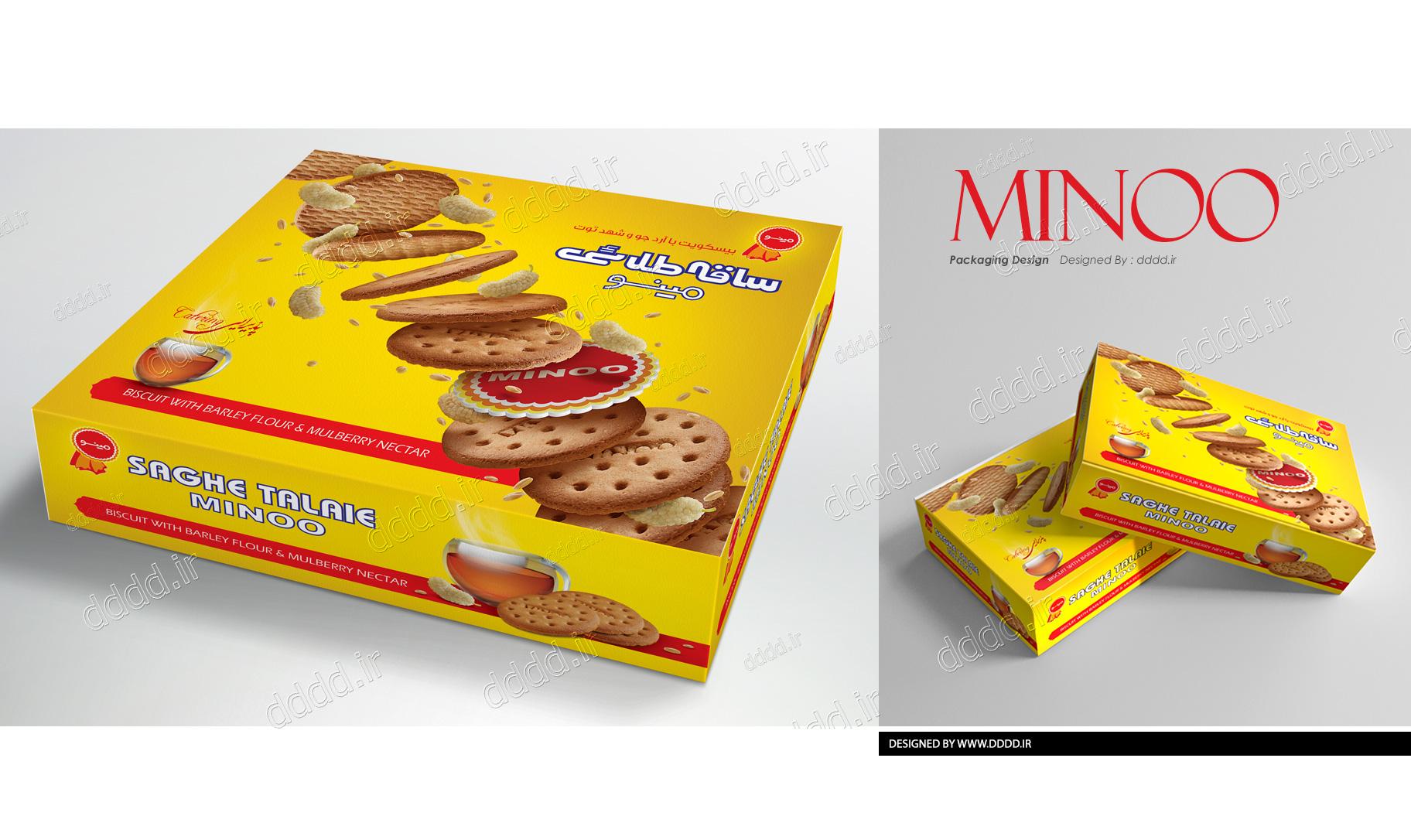 طراحی بسته بندی بیسکوئیت ساقه طلایی جعبه ای مینو
