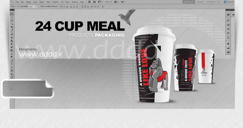 طراحی لیوان فست فود 24 کاپ میل