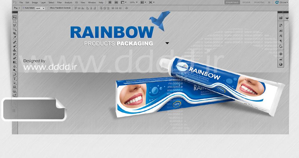 طراحی بسته بندی خمیردندان Rainbow