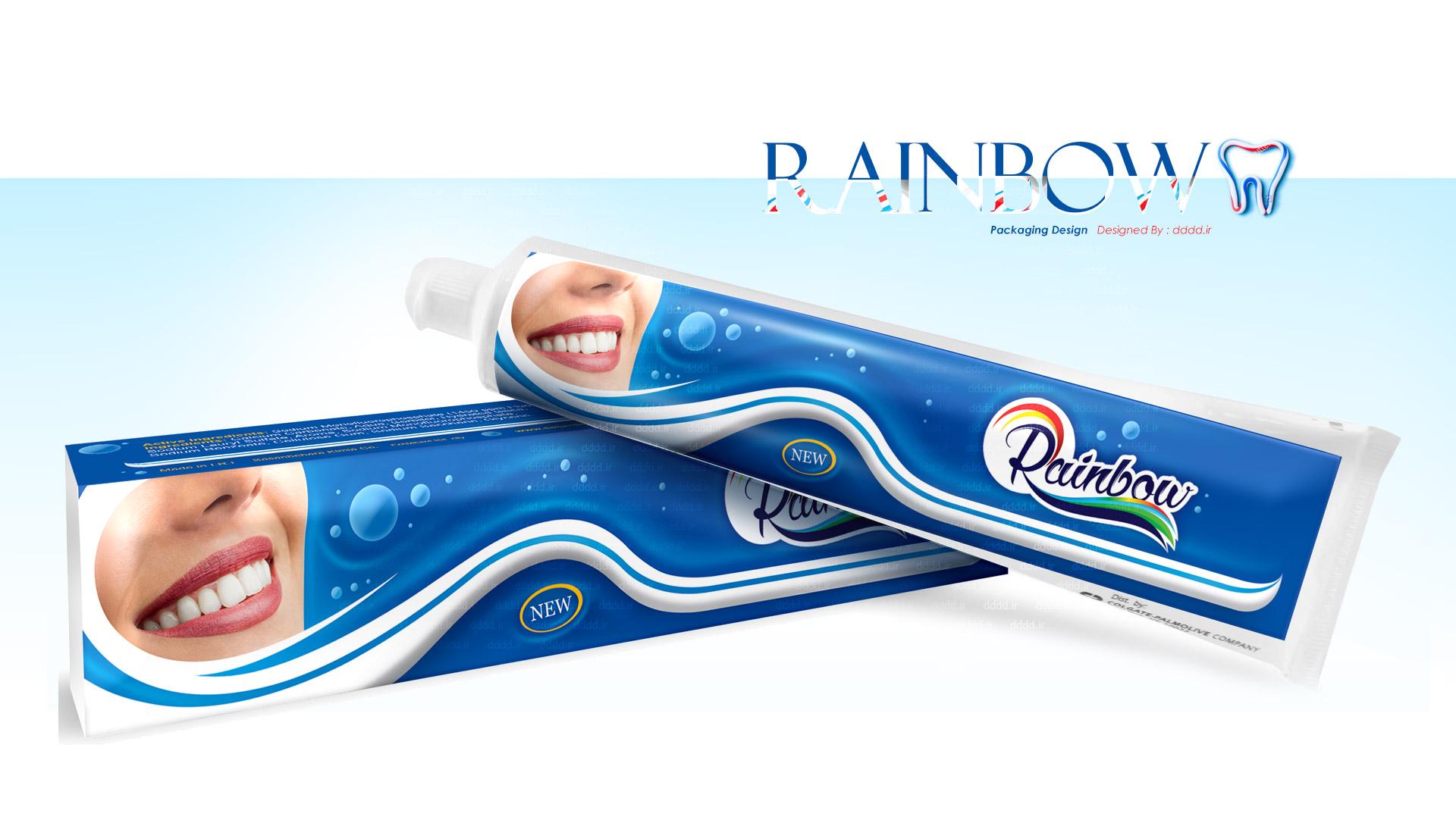 طراحی بسته بندی خمیر دندان رینبو
