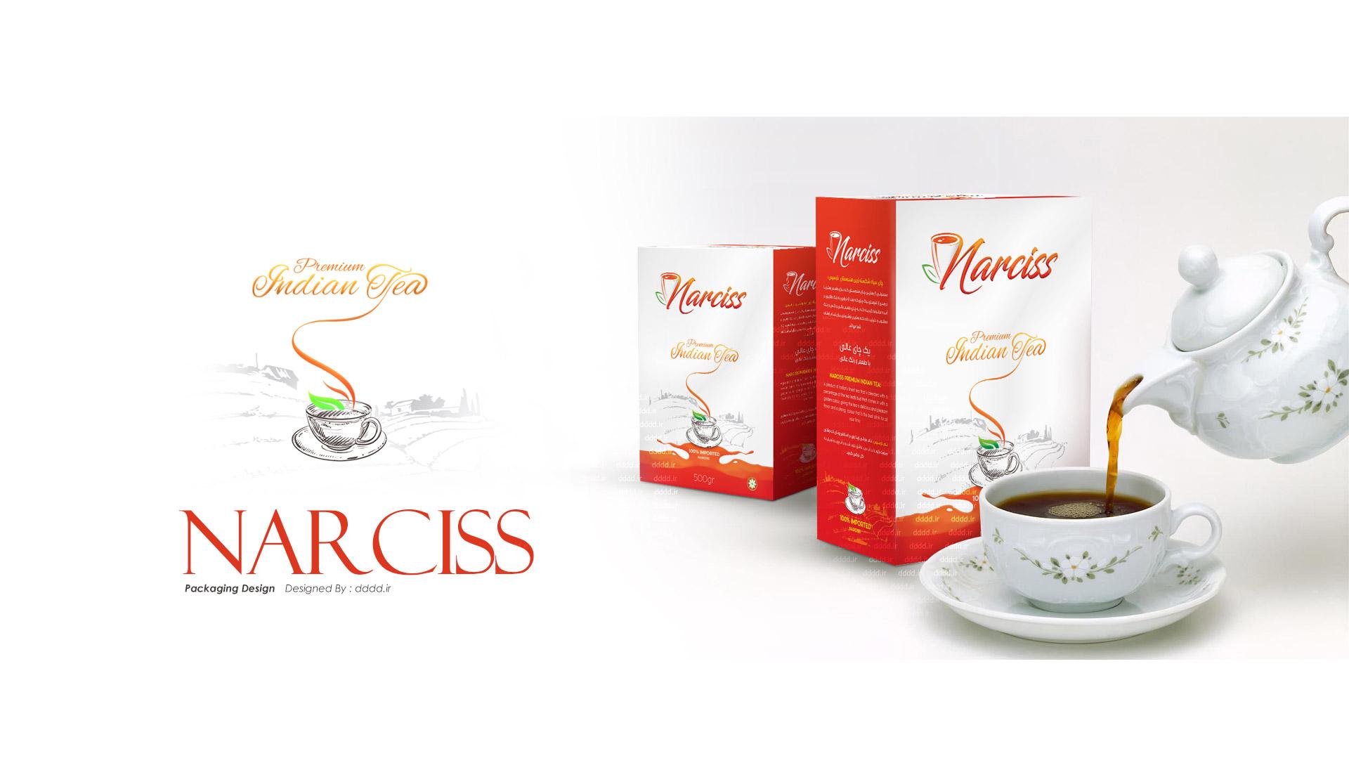 طراحی بسته بندی چای نارسیس