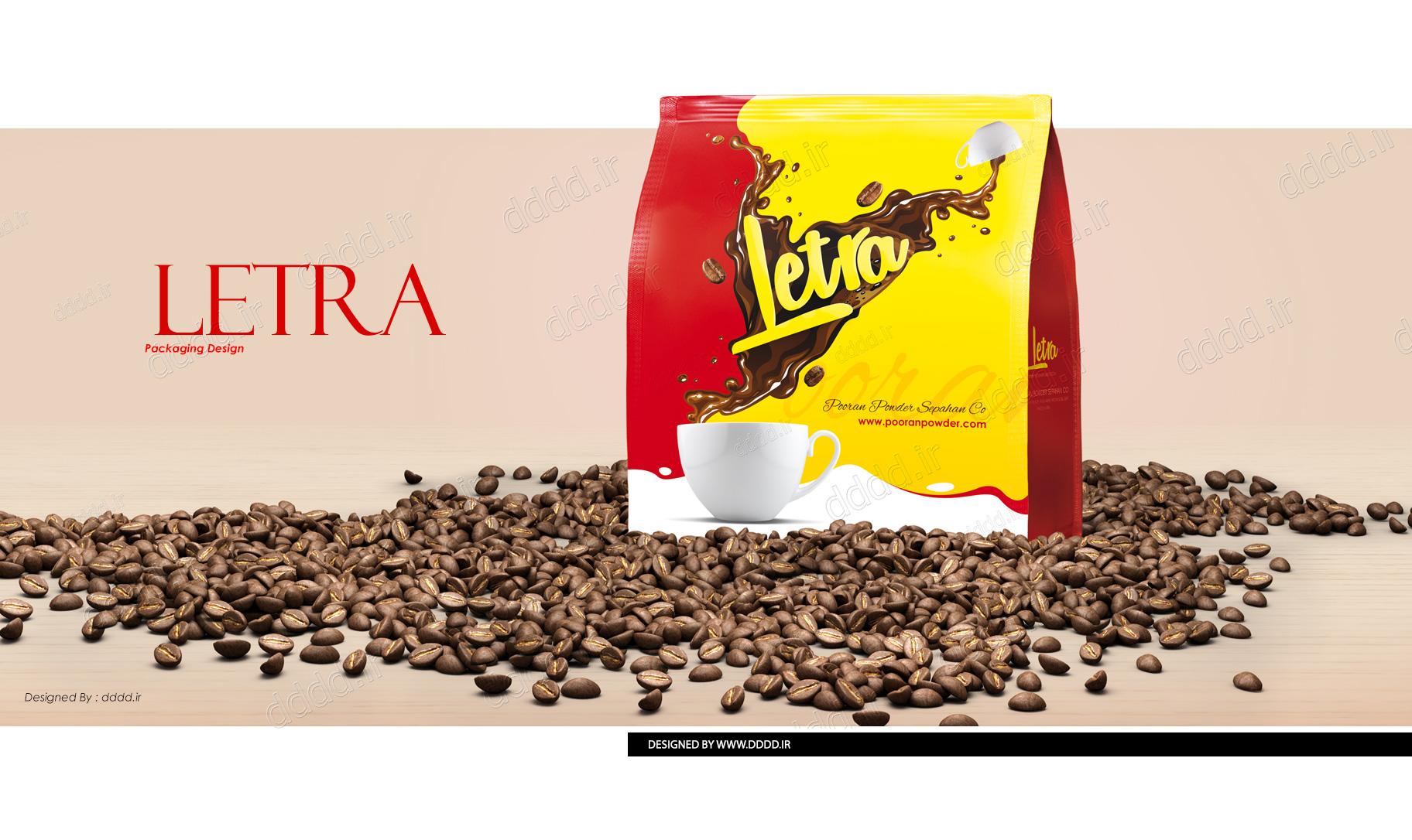 طراحی بسته بندی پودر قهوه لترا