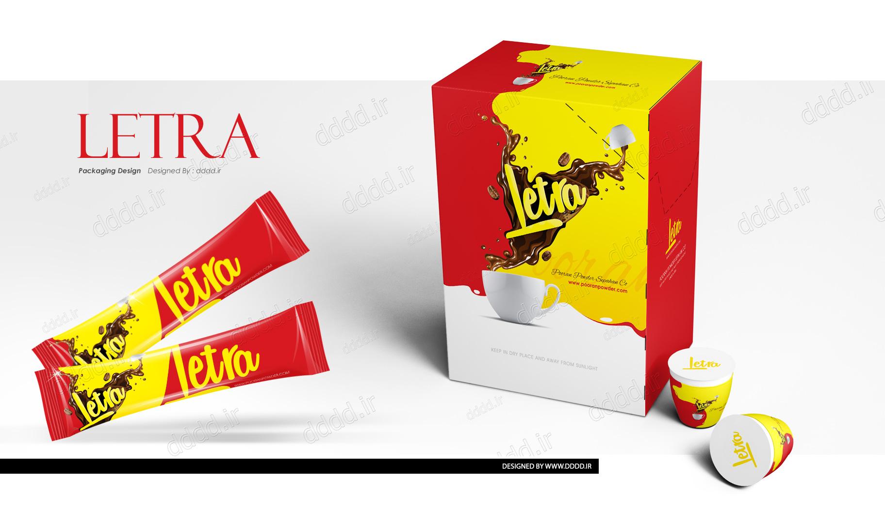 طراحی بسته بندی پودر کاپوچینو لترا
