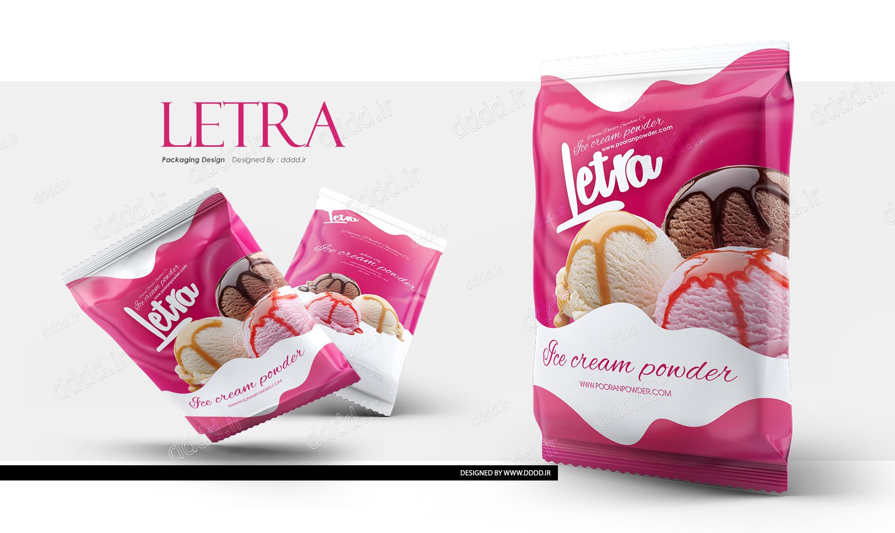طراحی بسته بندی پودر بستنی لترا