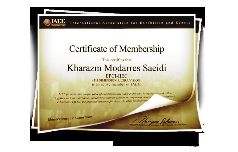 شرکت بعد چهارم ، تنها شرکت ایرانی دارنده گواهینامه از اتحادیه بین المللی نمایشگاهها و رویداد های آمریکا