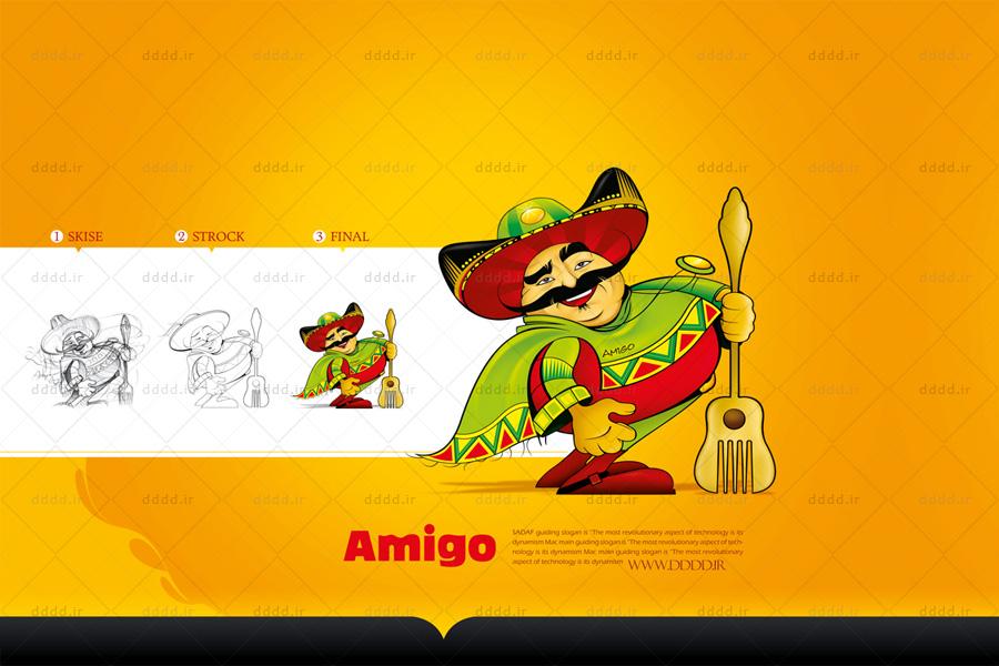 طراحی کاراکتر و شخصیت پردازی رستوران آمیگو