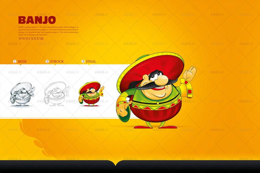 طراحی کاراکتر و شخصیت پردازی رستوران بانجو