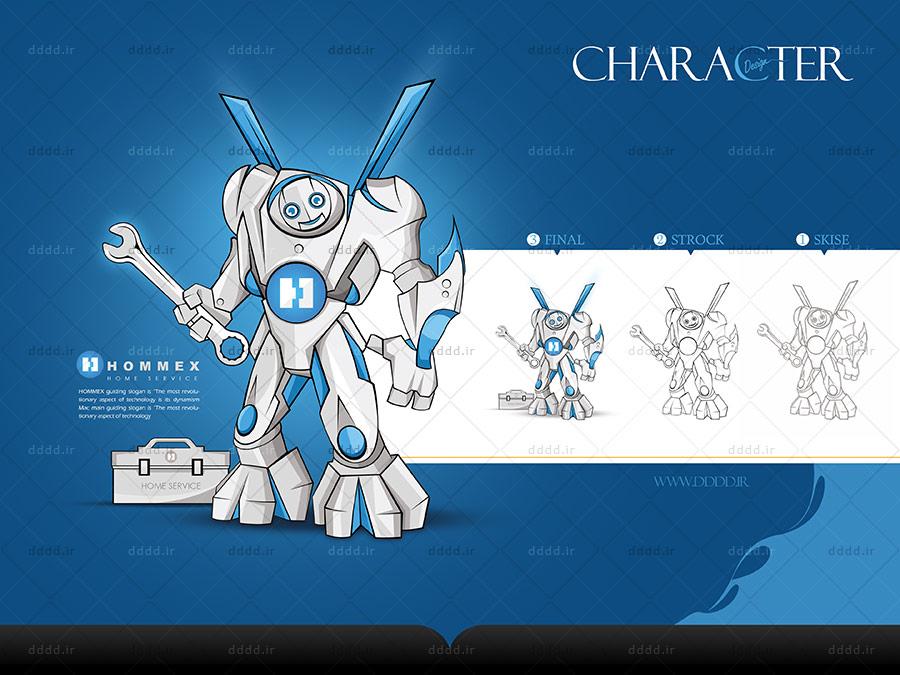 طراحی کاراکتر و شخصیت پردازی برند لوازم خانگی HOMMEX