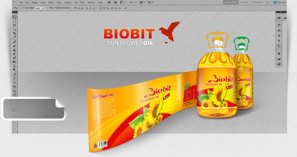 طراحی بسته بندی روغن آفتابگردان بیوبیت