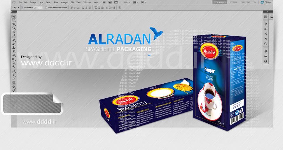 طراحی بسته بندی ماکارانی و شکر الرعدان