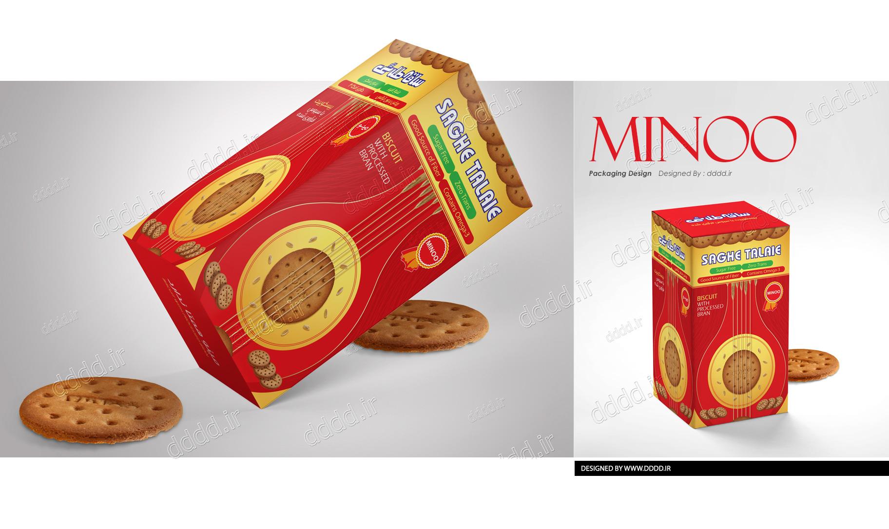 طراحی بسته بندی بیسکوئیت شهد توت ساقه طلایی مینو