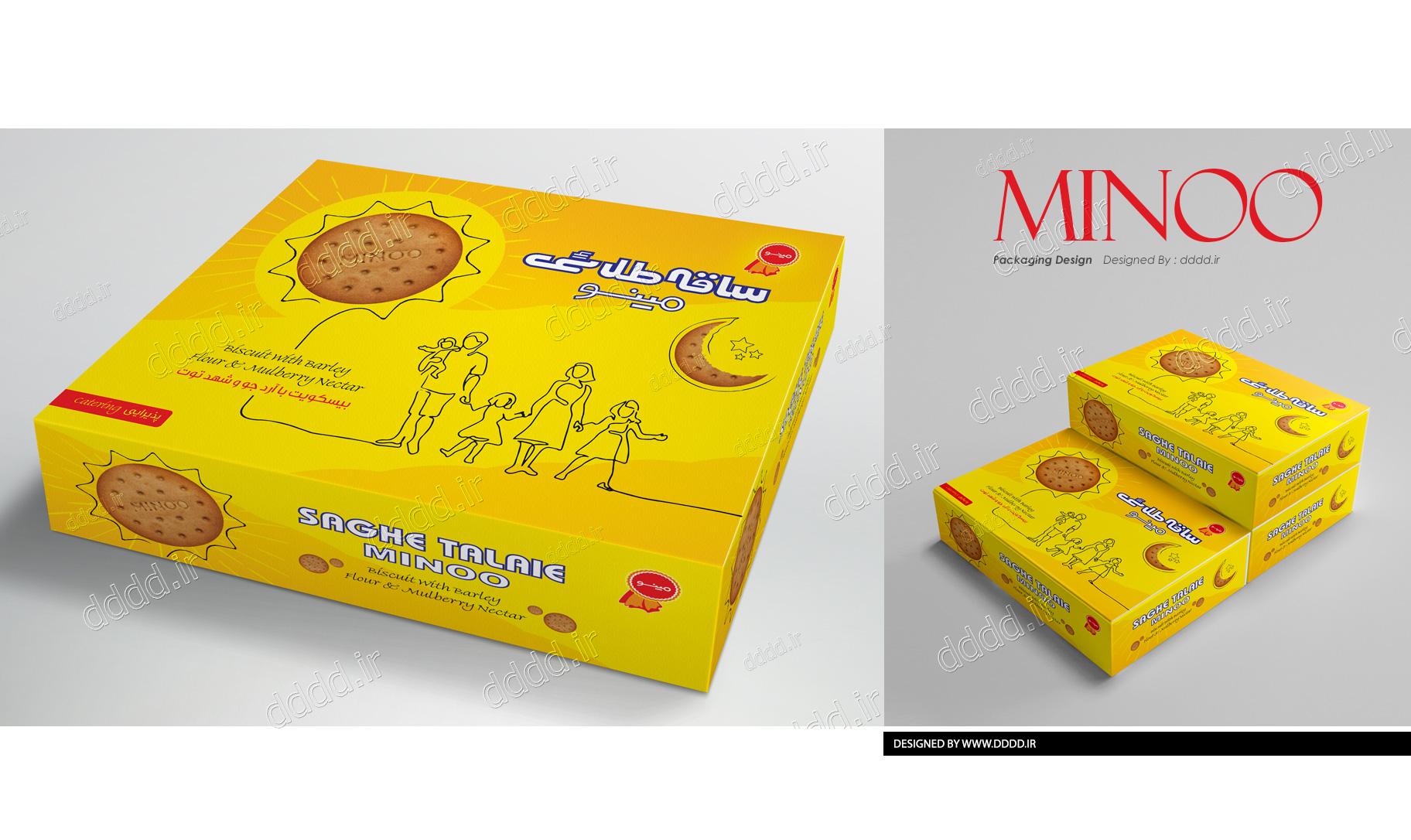 طراحی بسته بندی بیسکوئیت جعبه ای ساقه طلایی مینو