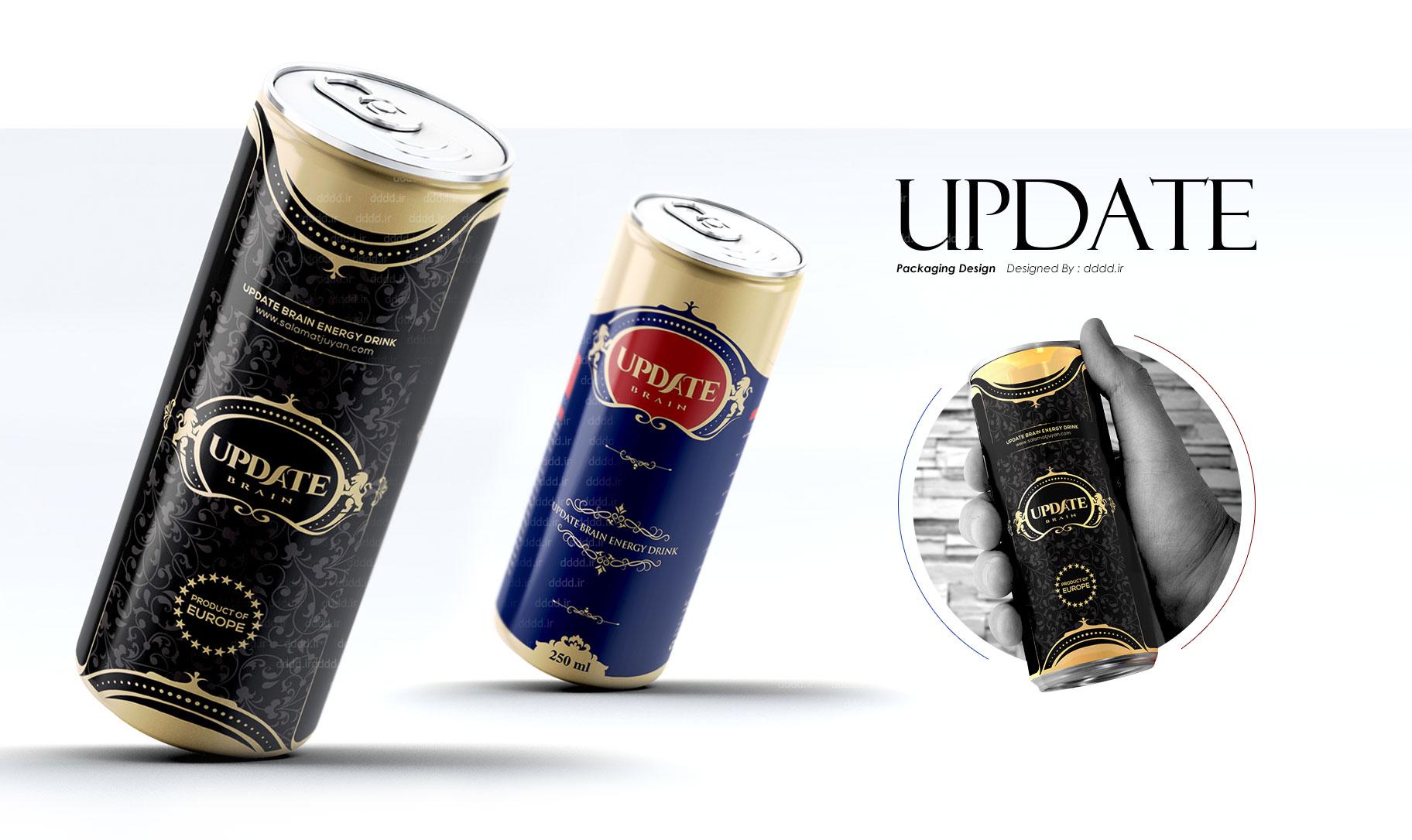 طراحی لیبل نوشیدنی انرژی زا آپدیت برین -  Update Brain