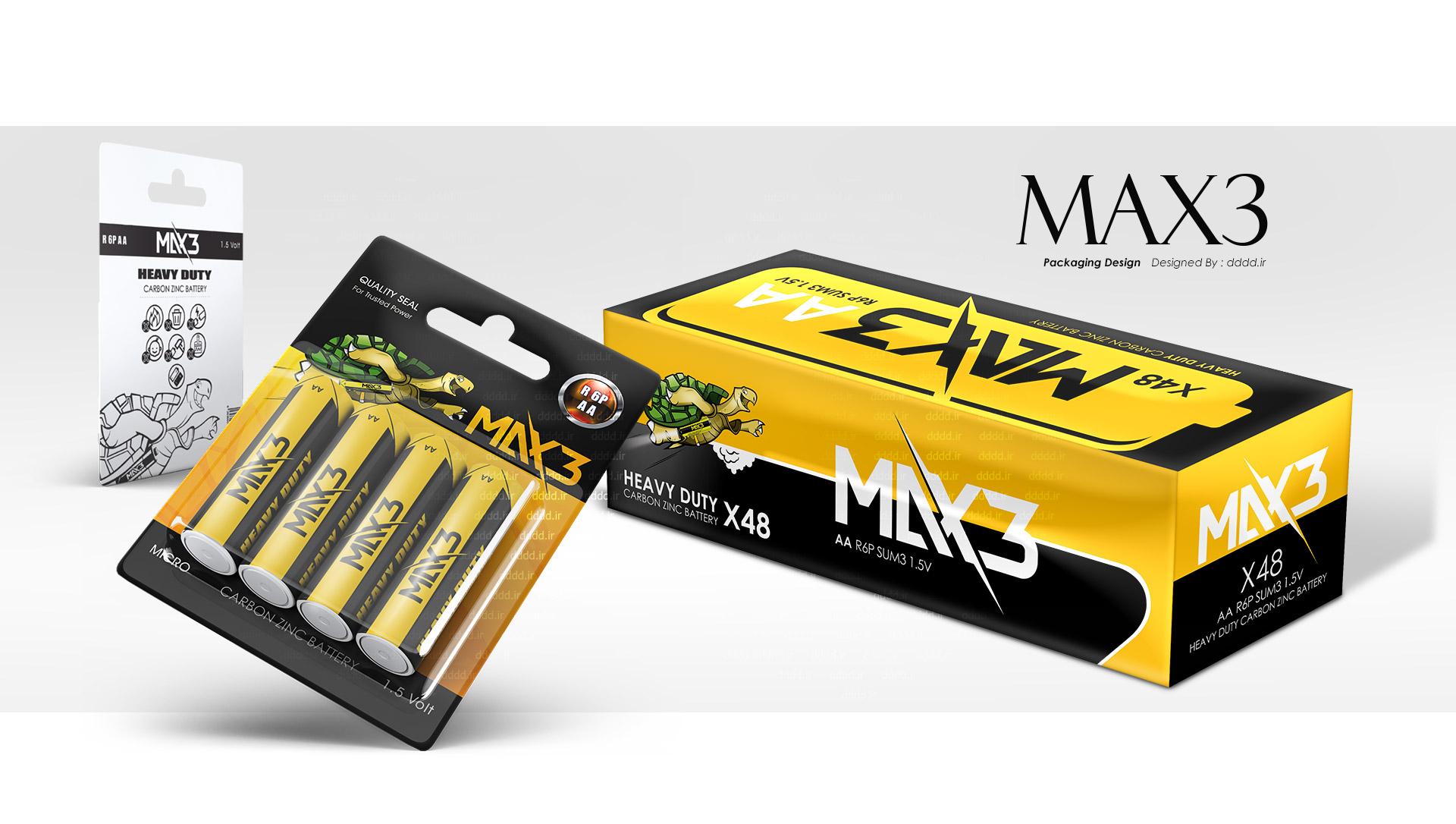 طراحی لیبل و بسته بندی های باتری مکس 3 (Max3)