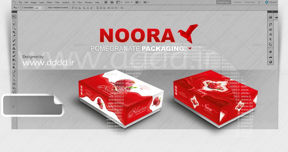 طراحی بسته بندی انار نورا