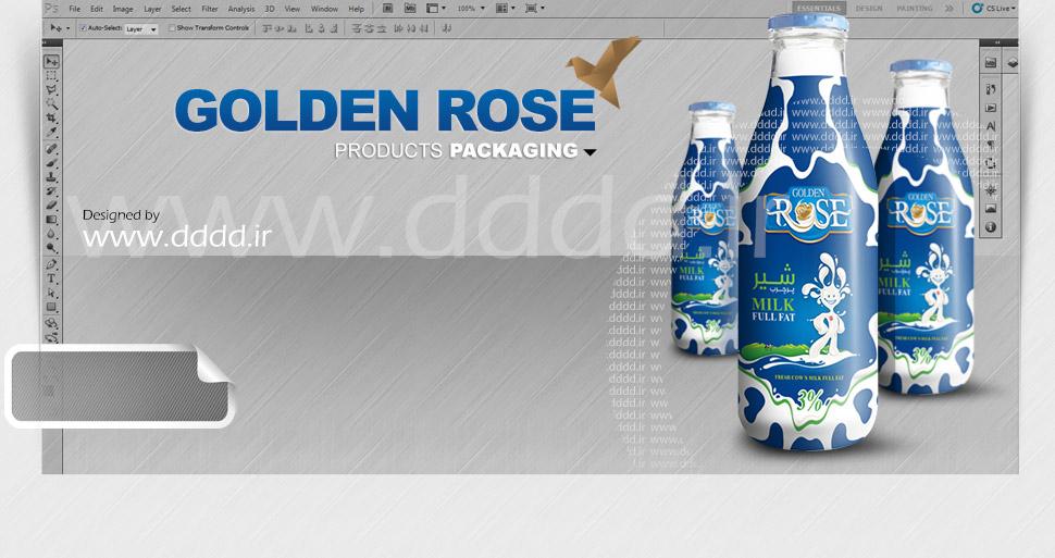 طراحی بسته بندی لبنیات Golden Rose