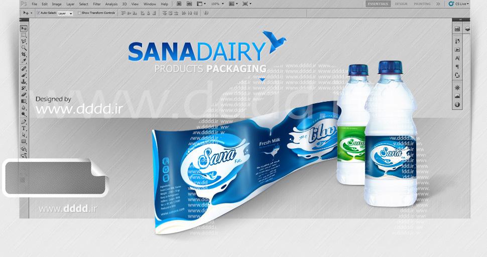 طراحی بسته بندی لبنیات سانا