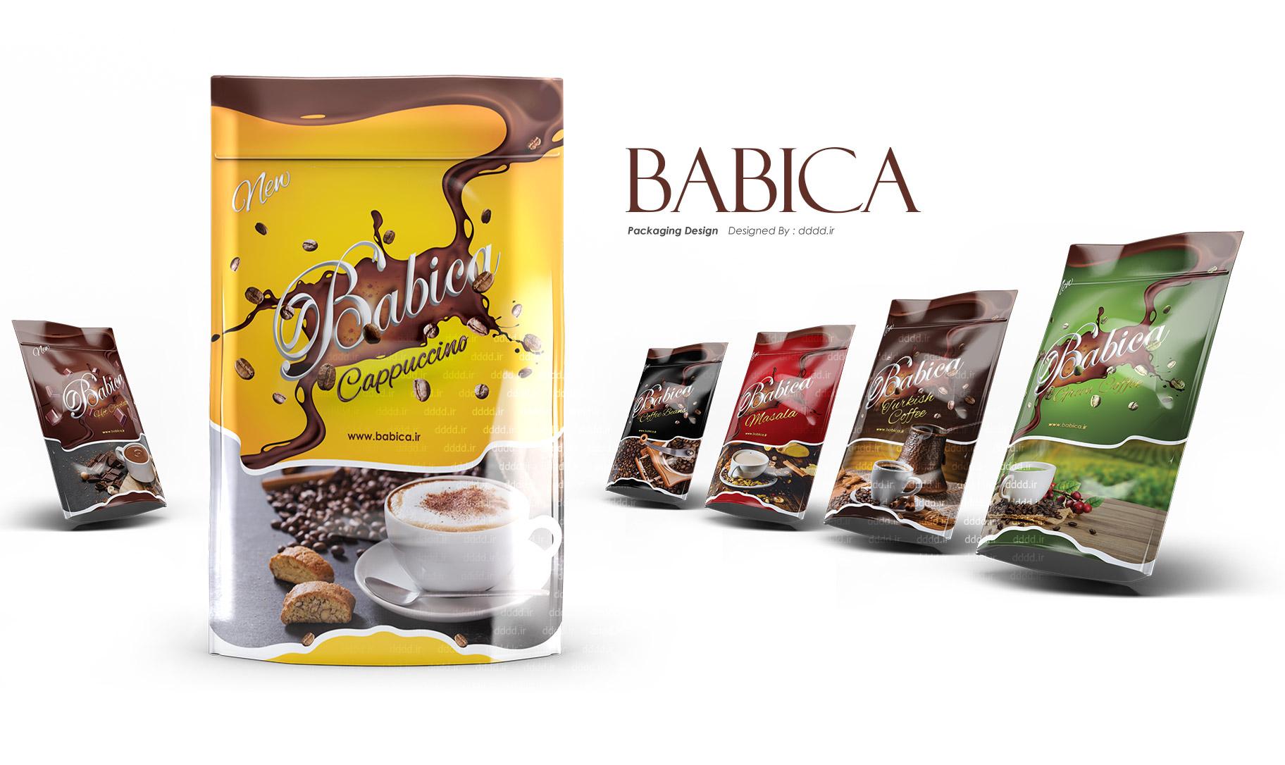 طراحی بسته بندی پودر قهوه بابیکا
