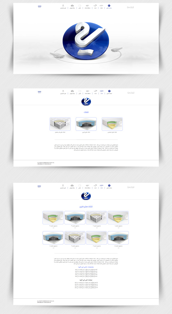 طراحی سایت شرکت تشک رویا